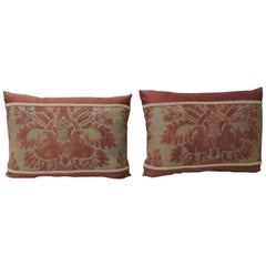 "Pair of Vintage Fortuny ""Glicine"" Red and Silvery Bolster Decorative Pillows"