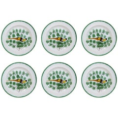 Set of Six Antique English Pearlware Hand-Painted Peafowl Plates