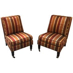 Pair of Lilian August Striped Silk Armless Club Chairs