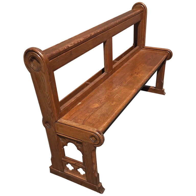Antique and Handcrafted Gothic Revival Solid Oak Practical Hallway or Bench