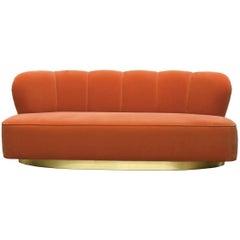 Art Deco Style Orange Velvet and Brass Base Monti