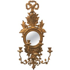 Large Single Italian Giltwood Mirror Candle Sconce