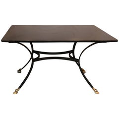 French Black Glass Brass and Iron Writing Table