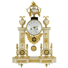 French Directoire Alabaster Portico Clock with Ormolu Mounts