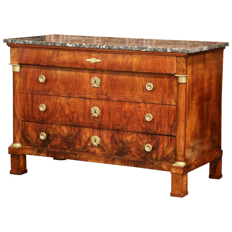 19th Century French Empire Walnut Four-Drawer Commode with Black & White Marble