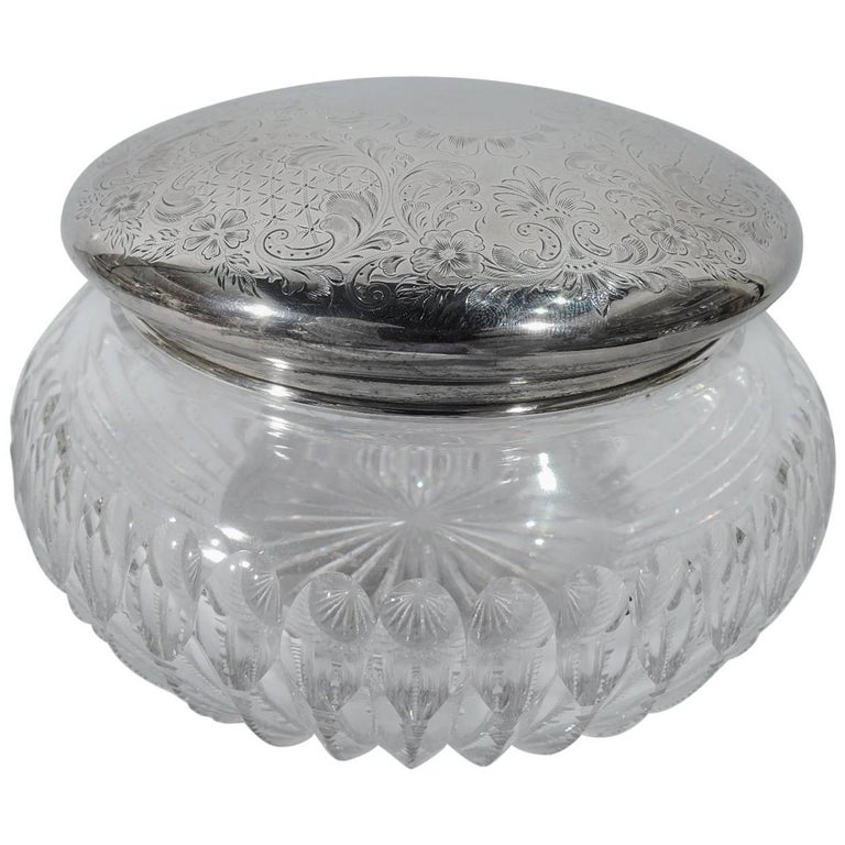 Large American Edwardian Sterling Silver and Cut-Glass Vanity Jar