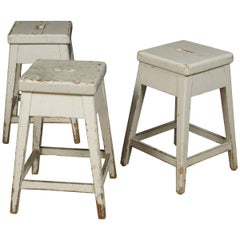 Set of Three University Stools from Sweden, circa 1920