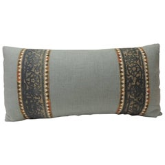 Vintage Fortuny Border Blue on Silver Decorative Long Bolster Pillow