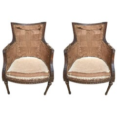 First Quarter of the 20th Century French Walnut Chair a Pair