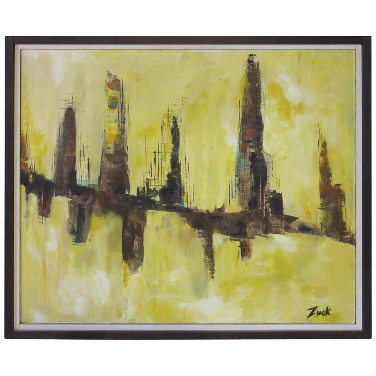 Midcentury Cityscape Painting by Susan Zuck