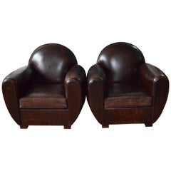 Club Chairs of Leather from France, Offered as Pair, circa 1960