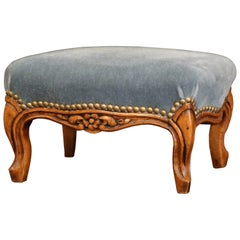 19th Century French Louis XV Carved Walnut Footstool with Blue Velvet