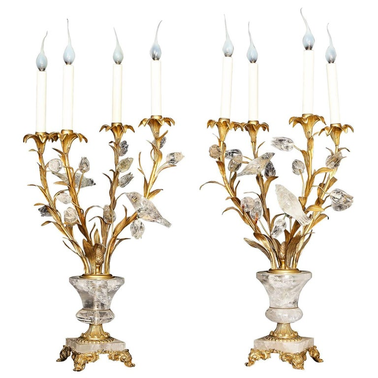 Pair of Antique French Louis XVI Style Bagues Rock Crystal and Gilt Bronze Lamps