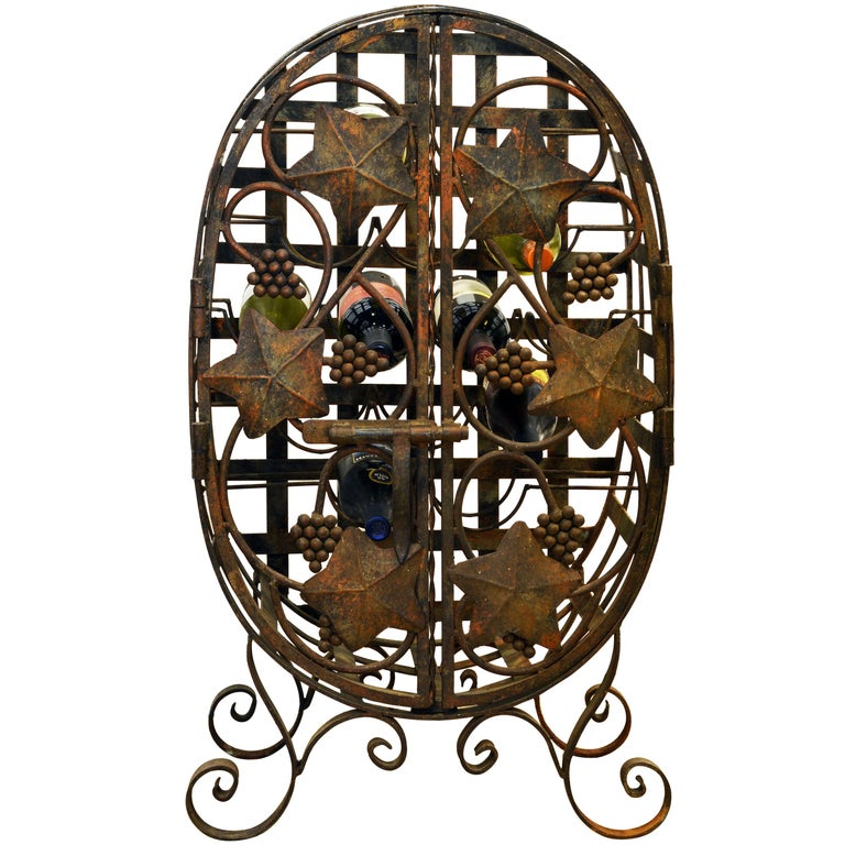 Rare French Grape Vine Themed Wrought Iron Barrel Shape Wine Jail or Cage For Sale