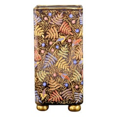 Moser Hand Blown Quatrefoil Vase Hand Painted Enamel Ferns and Raised Paste Gold
