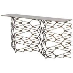 Fenced-In Console by Uhuru Design in Brass-Plated Cast Iron