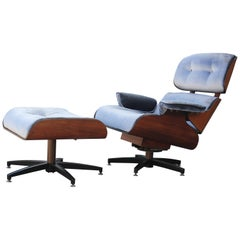 Modern Eames Style Walnut Lounge Chair and Ottoman in Silver Velvet