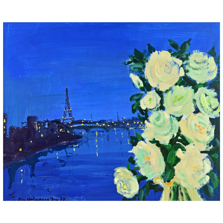 'Paris by Night' Poetic Impressionist Gem by Eva Holmberg Jacobsson, Swedish For Sale