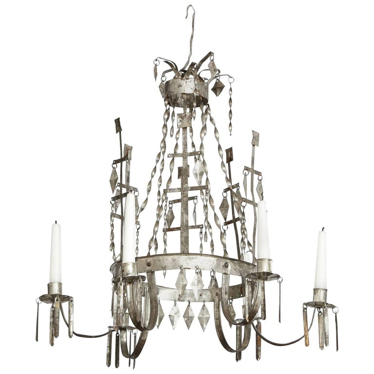 Swedish Six-Arm Gustavian Tin Chandelier, Origin, Sweden, circa 1800