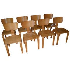 Dining Chairs by Thonet of Rock Maple and Bentwood, Set of Eight