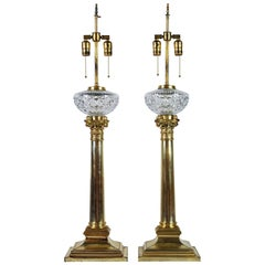 Stately Pair of 19th Century English Silvered Corinthian Column Table Lamps