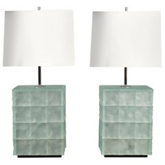 Pair of Chiselled Glass Tile Lamps, Italy, 2017
