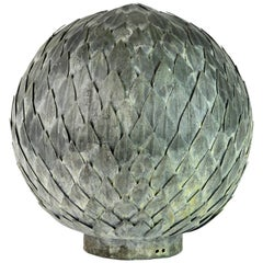Decorative Welded and Patinated Metal Laurel Leaf Ball or Fountain Head