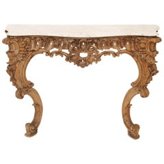 18th Century Italian Rococo Console Table in Natural Wood