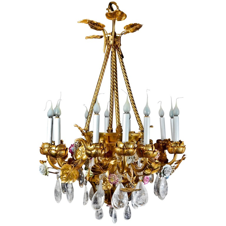 Antique French Louis XVI Style Gilt Bronze Porcelain and Rock Crystal Chandelier