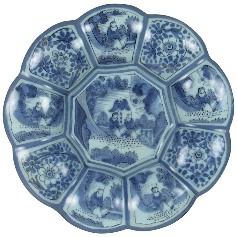 18th Century German or Dutch Blue and White Tin Glazed Earthenware Lobed Bowl For Sale