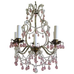 Six-Light Crystal Beaded Chandelier with Soft Pink Drops