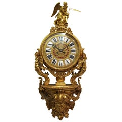 Lerolle Freres Gilt Bronze Louis XVI Style Wall Clock, 19th Century