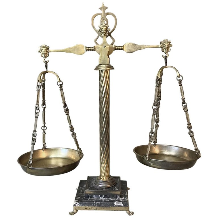 Neoclassical Solid Brass and Marble Italian Balance Scale