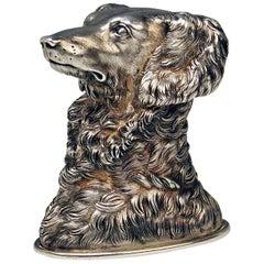 Silver Russian Stirrup Cup Dog Head by Samuel Arnd St.Petersburg, 1856