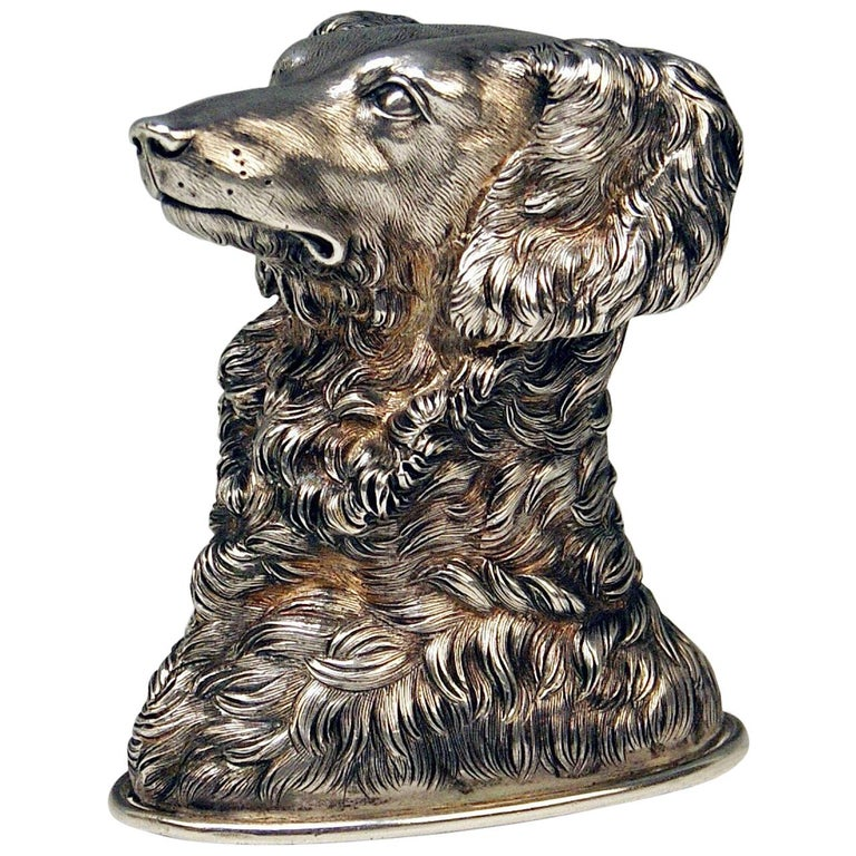 Silver Russian Stirrup Cup Dog Head by Samuel Arnd St.Petersburg, 1856 For Sale