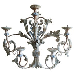 Italian Painted Iron and Wood Acanthus Leaf Wall Decor