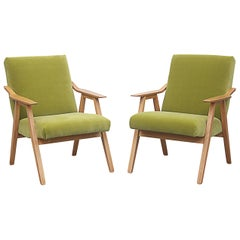 Pair of Blonde Lounge Chairs in Kiwi Velvet