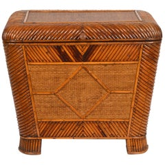 19th Century English Patterned Bamboo and Raffia Weave Covered Storage Box