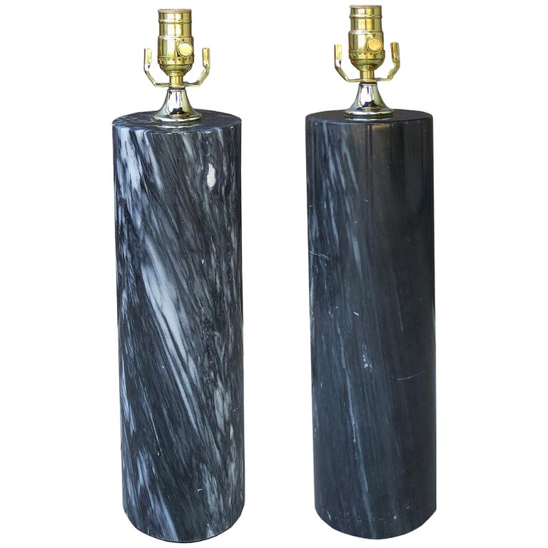 Pair of Midcentury Marble Lamps, Possibly Nessen