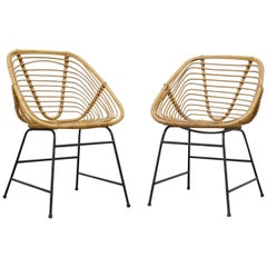 Pair of Midcentury Squared Bamboo Dining Chairs