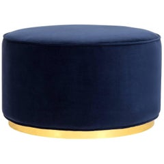 Modern Style Round Chubby Ottoman in Velvet with Polished Brass Toe Kick