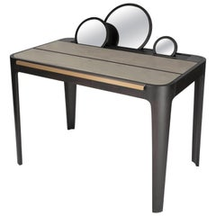 Roll Desk 01 Writing Table in Dark Walnut, Brass, Suede and Mirror