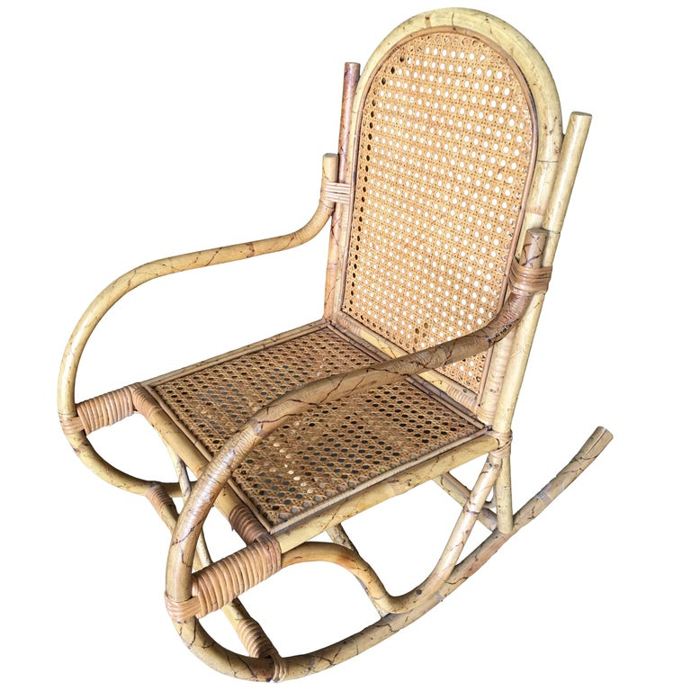 Restored Child Size Rattan Rocking Chair with Wicker Seat