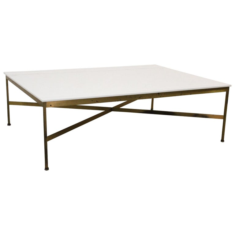 Brass and Vitrolite Coffee Table by Paul McCobb For Sale