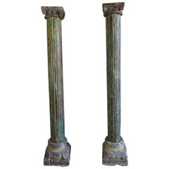 Pair of Carved Painted Columns, circa 1900s