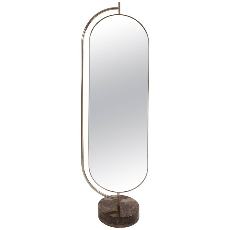 Giove Full Length Mirror, in Polished Marble, Brass and Velvet, Made in Italy