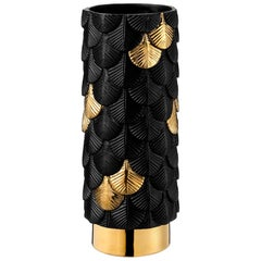 Contemporary Vase Hand Decorated with Black Satin and 24-Karat Gold Enamels