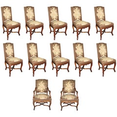 Set of 12 Louis XV Style Dining Chairs with Tapestry Upholstery, 19th Century