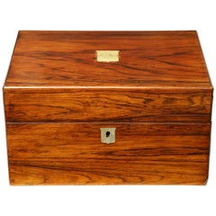 Mid-19th Century English Box with Secret Drawer and Mother-of-Pearl Mounts