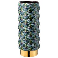 Contemporary Vase Hand Decorated with 24-Karat Gold and Various Enamels